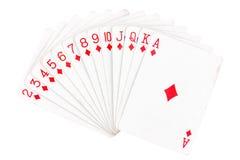 Insieme delle carte da gioco del diamante Fotografia Stock Libera da Diritti