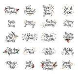 Insieme delle carte del buon anno e di Buon Natale Calligrafia moderna Passi l'iscrizione per le cartoline d'auguri, sovrapposizi illustrazione di stock