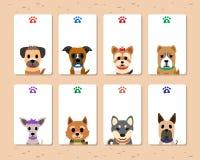 Insieme delle carte del cane del fumetto Fotografia Stock