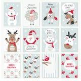 Insieme delle carte del nuovo anno e di Natale Fotografia Stock