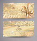 Insieme delle carte dell'invito con fondo floreale Fotografia Stock