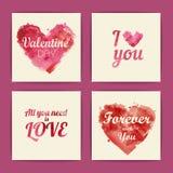 Insieme delle carte dell'invito del biglietto di S. Valentino Fotografie Stock