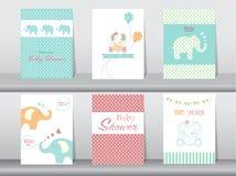 Insieme delle carte dell'invito della doccia di bambino illustrazione di stock