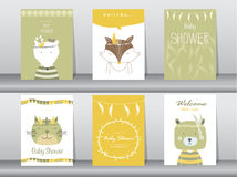 Insieme delle carte dell'invito della doccia di bambino illustrazione vettoriale