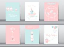 Insieme delle carte dell'invito della doccia di bambino, biglietti di auguri per il compleanno, manifesto illustrazione vettoriale