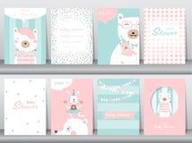 Insieme delle carte dell'invito della doccia di bambino, compleanno, manifesto, modello, cartoline d'auguri, animali, svegli, ors illustrazione vettoriale