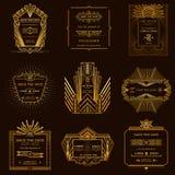 Insieme delle carte dell'invito di nozze - Art Deco Immagine Stock