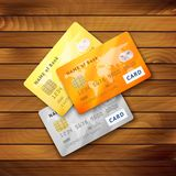 Insieme delle carte di credito lucide dettagliate Fotografie Stock