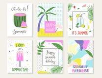 Insieme delle carte di estate Fotografie Stock