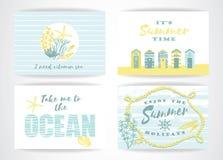 Insieme delle carte di estate con gli elementi del a mano disegno Fotografie Stock Libere da Diritti