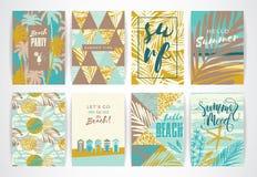 Insieme delle carte di estate con gli elementi del a mano disegno Fotografia Stock Libera da Diritti