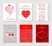 Insieme delle carte di giorno del ` s del biglietto di S. Valentino Immagine Stock Libera da Diritti