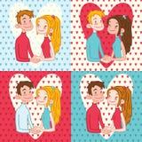 Insieme delle carte di giorno di biglietti di S. Valentino Fotografie Stock