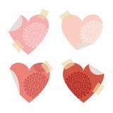 Insieme delle carte di note del bastone di auto della posta, forma del cuore, Immagini Stock