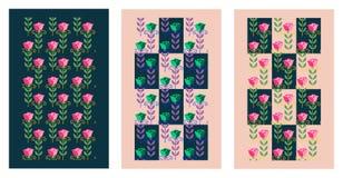 Insieme delle carte di vettore con i fiori Rose stilizzate Fotografie Stock Libere da Diritti