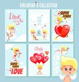 Insieme delle carte o dei manifesti stampabili romantici svegli per il San Valentino Fotografia Stock Libera da Diritti