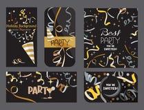 Insieme delle carte scure di festa con nastri adesivi di cuore e dei coriandoli Fotografia Stock