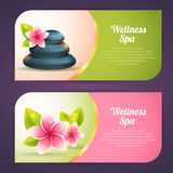 Insieme delle carte tematiche della stazione termale con gli oggetti di benessere Immagine Stock
