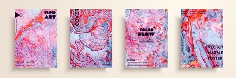 Insieme delle carte universali di vettore Struttura di marmo liquida Progettazione variopinta per l'invito, cartello, opuscolo, m illustrazione di stock