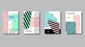 Insieme delle carte universali variopinte artistiche Nozze, anniversario, compleanno Immagini Stock Libere da Diritti