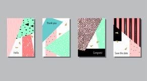 Insieme delle carte universali variopinte artistiche Nozze, anniversario, compleanno Immagine Stock