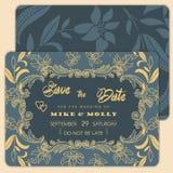 insieme delle cartoline d'auguri con il fiore Salvo la data Iscrizione alla moda per i saluti Fotografia Stock Libera da Diritti