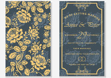 insieme delle cartoline d'auguri con il fiore Salvo la data Iscrizione alla moda per i saluti Fotografia Stock