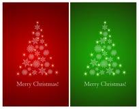 Insieme delle cartoline d'auguri con l'albero di Natale astratto dei fiocchi di neve illustrazione di stock