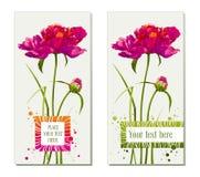 Insieme delle cartoline d'auguri del fiore Immagine Stock