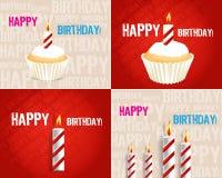 Insieme delle cartoline d'auguri di compleanno Immagine Stock Libera da Diritti