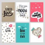 Insieme delle cartoline d'auguri di giorno di S. Valentino Fotografia Stock