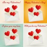 Insieme delle cartoline d'auguri di San Valentino. Illustrazione di vettore. Immagini Stock