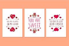 Insieme delle cartoline d'auguri disegnate a mano di giorno di biglietti di S. Valentino del san Fotografia Stock