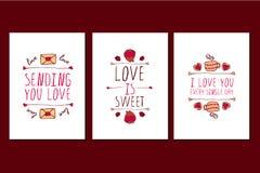 Insieme delle cartoline d'auguri disegnate a mano di giorno di biglietti di S. Valentino del san Fotografie Stock Libere da Diritti