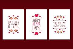 Insieme delle cartoline d'auguri disegnate a mano di giorno di biglietti di S. Valentino del san Immagine Stock