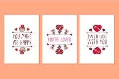 Insieme delle cartoline d'auguri disegnate a mano di giorno di biglietti di S. Valentino del san Fotografie Stock