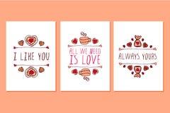 Insieme delle cartoline d'auguri disegnate a mano di giorno di biglietti di S. Valentino del san Fotografia Stock Libera da Diritti