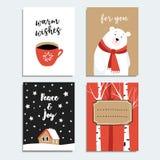 Insieme delle cartoline d'auguri disegnate a mano di Natale, inviti con gli alberi dell'orso polare, della tazza di caffè e di be Fotografia Stock Libera da Diritti