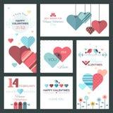 Insieme delle cartoline d'auguri e delle insegne felici di Valentine Day di progettazione piana Fotografia Stock