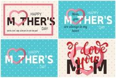 Insieme delle cartoline d'auguri felici di festa della Mamma Illustrazione di vettore Fotografie Stock