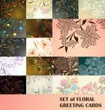 Insieme delle cartoline d'auguri floreali Immagine Stock