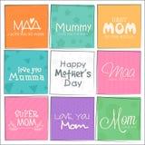 Insieme delle cartoline d'auguri per la celebrazione felice di festa della Mamma Immagini Stock