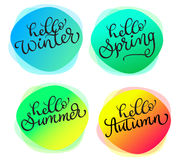 Insieme delle cartoline d'auguri per tutto l'inverno di autunno della molla di estate di stagioni ciao Carte con struttura rotond illustrazione di stock