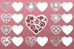 Insieme delle cartoline d'auguri romantiche per il taglio del laser Adatto a compleanno, giorno del ` s del biglietto di S. Valen Immagine Stock