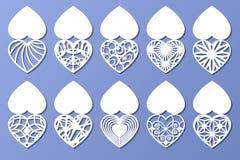 Insieme delle cartoline d'auguri romantiche per il taglio del laser Adatto a compleanno, giorno del ` s del biglietto di S. Valen Immagini Stock Libere da Diritti
