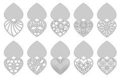 Insieme delle cartoline d'auguri romantiche per il taglio del laser Adatto a compleanno, giorno del ` s del biglietto di S. Valen Fotografia Stock