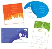 Insieme delle cartoline di Natale Immagine Stock