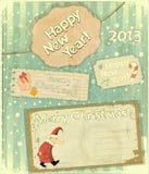 Insieme delle cartoline di Natale Fotografie Stock Libere da Diritti
