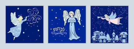 Insieme delle cartoline di Natale con gli angeli Fotografia Stock Libera da Diritti