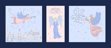 Insieme delle cartoline di Natale con gli angeli illustrazione di stock